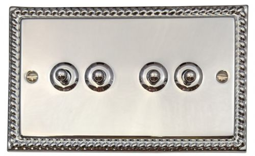 G&H MC284 Monarch Roped Polished Chrome 4 Gang 1 or 2 Way Toggle Light Switch